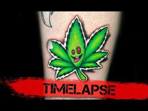 Tattoo Timelapse - New School Weed Leaf Tattoo
