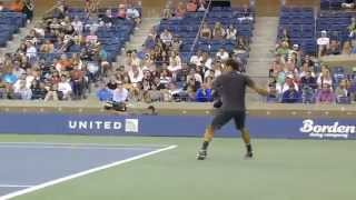 Roger Federer Perfection - Forehand and Backhand (Slice and Topspin) from Front Row at US Open 2011