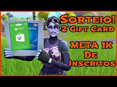 Fortnite Sorteio De 2 Gift Cards No Valor De 50$ Meta De 1K Inscritos!