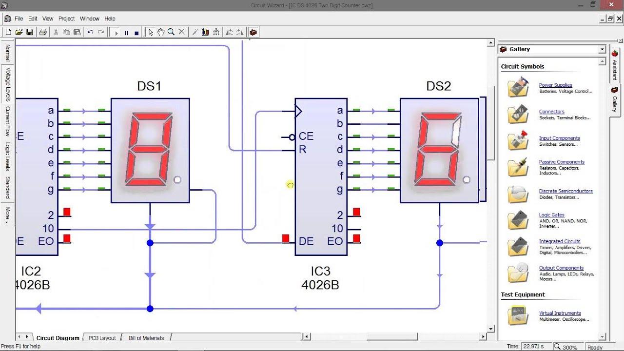 Decade Counter Circuit Diagram Using 7490 Wiring Cd 4026 7segment 2 Digit Youtube