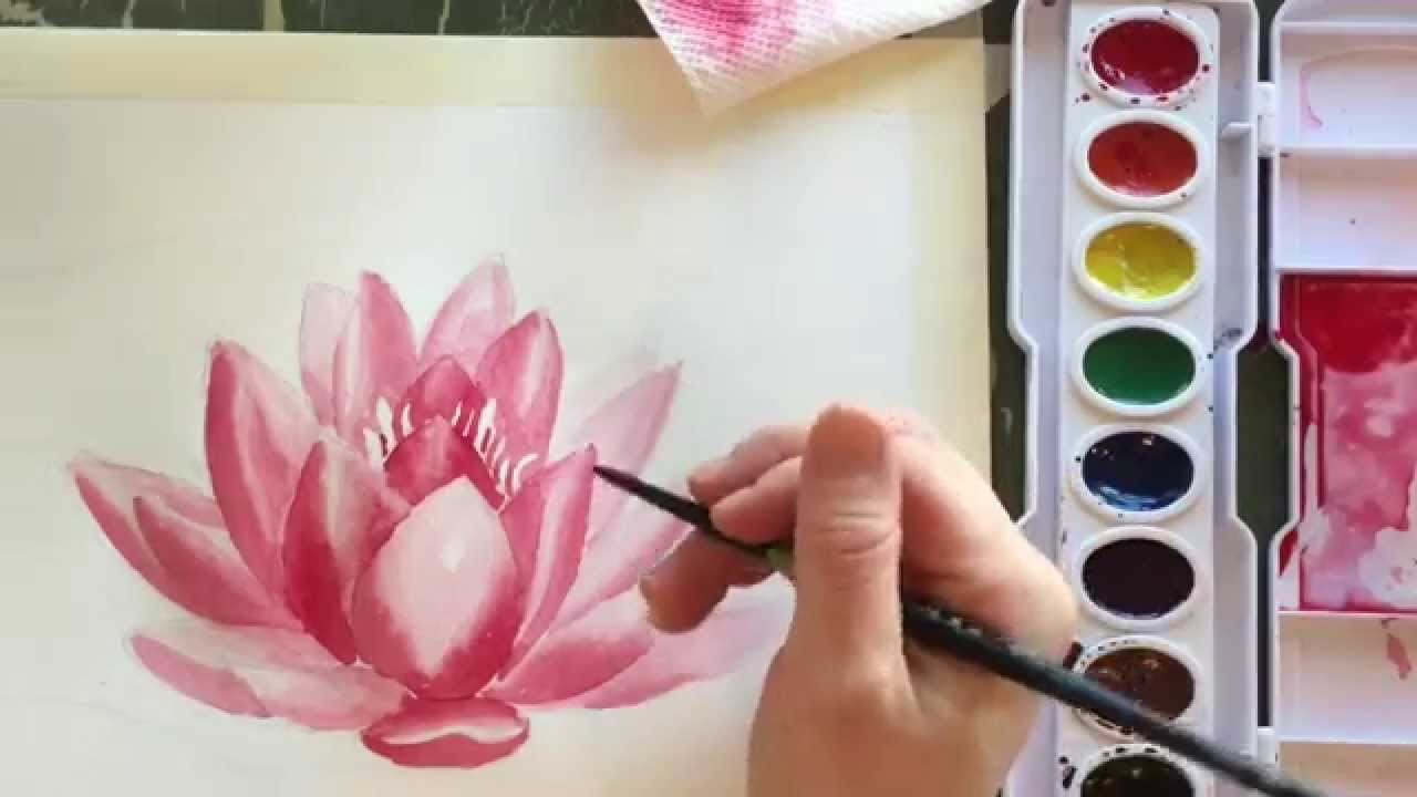 How to paint watercolor a water lily youtube dhlflorist Images
