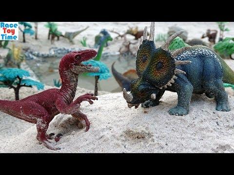 Dino Predator vs. Prey Volcano Adventure! Dinosaurs Toys For Kids Tyrannosaurus Rex Triceratops