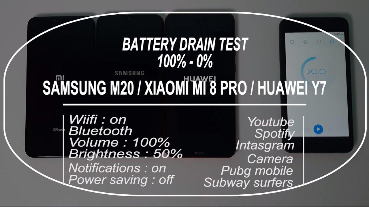 Samsung M20 / Xiaomi Mi 8 Pro / Huawei Y7 Pro Battery Life Drain Test