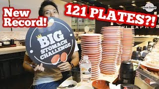 INSANE 121 Plates of Sushi Eaten?! | SUSHI EXPRESS EATING RECORD! 爭鮮大胃王挑战新纪录!