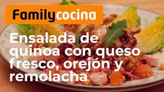 Ensalada de quinoa con queso fresco, orejón y remolacha
