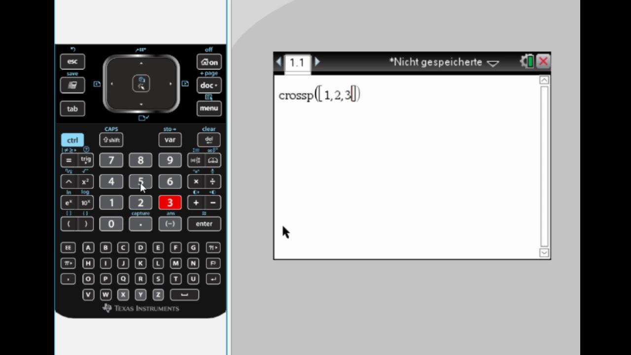 Kreuzprodukt Mit Dem Ti Nspire Cx Bestimmen By Einfach Mathe Youtube