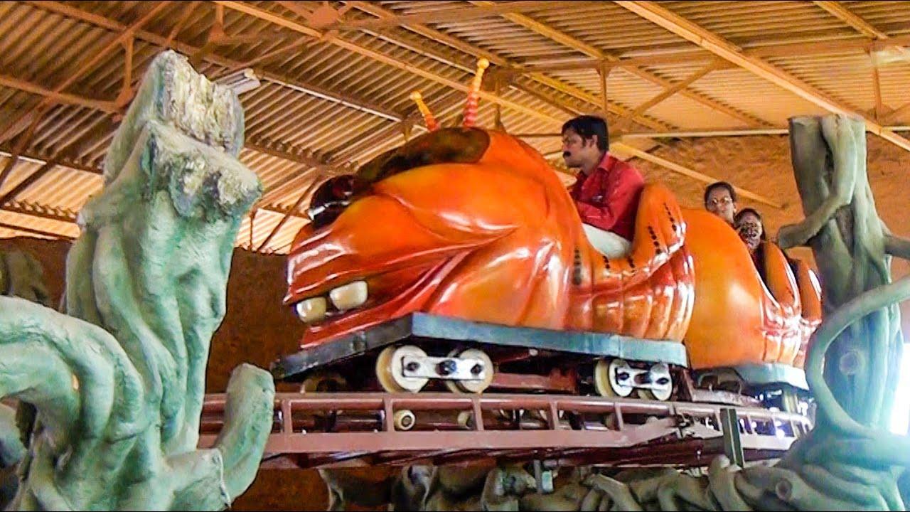 WEIRDEST Wacky Worm Roller Coaster Ever! WonderLa Park, Kochi India