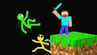 Only One Block Can Help Stickman In Minecraft