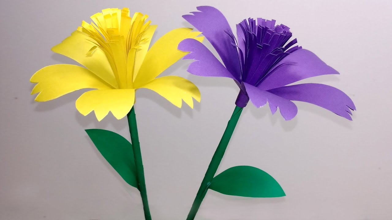 How To Make Beautiful Stick Flower Making Step By Step Paper Craft