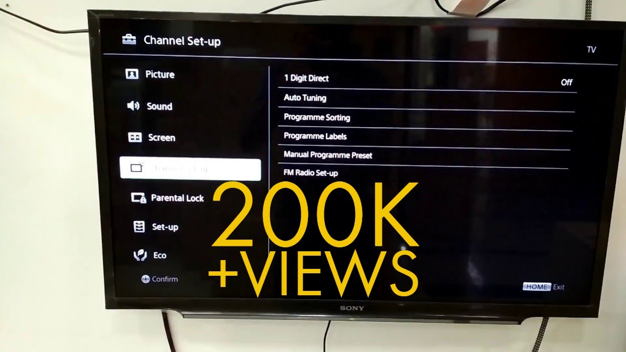 Sony Bravia Tv Channel Set Up Auto Tuning Bangla Youtube