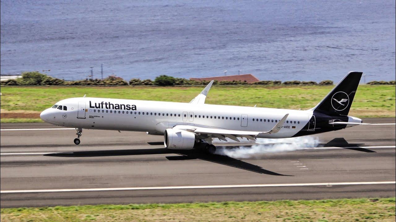 BEAUTIFUL WINDY LANDING AND TAKEOFF LUFTHANSA A321-271NX at Madeira Airport