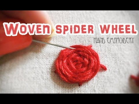 Woven spider wheel: Hand embroidery