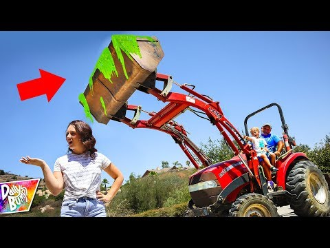 SLIME PRANK ON MOM W/ TRACTOR! 😱 (World's Largest Slime Prank!)