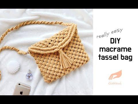[깃들 마크라메] 태슬포인트가 귀여운 마크라메 크로스백 / diy macrame tassel bag