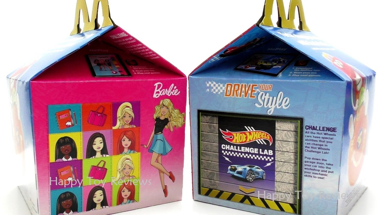 2017 Mcdonald S Barbie Hot Wheels Happy Meal Toys Box Kids Meal