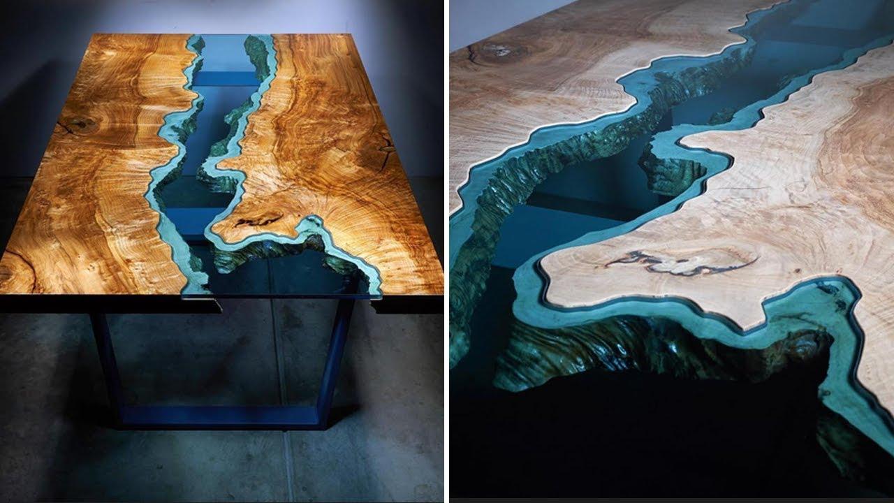Table Basse Avec Souche D Arbre ces tables en bois intègrent des rivières de verre