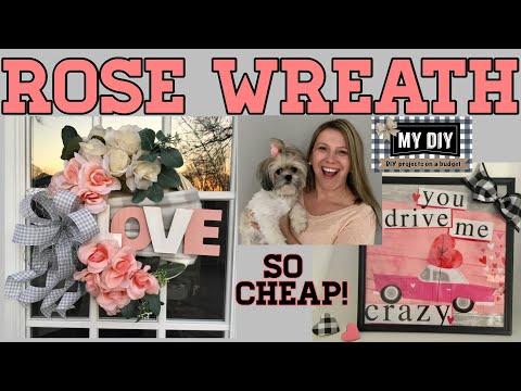 Rose Wreath Dollar Tree DIY | Gift Bag Light Up Frame | SO PRETTY & CHEAP!