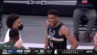 Giannis Antetokounmpo Throws Down Monster Slam To Win Game vs. Clippers