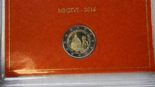 Евромонеты 2016: Ватикан, Словения,  Португалия(2 евро Словении 2016 Независимость 2 евро Бельгии 2016 Европейский центр