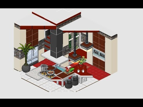 Habbo cocina moderna youtube for Casa moderna habbo