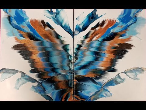 (287) NATIVE WINGS Diptych Acrylic Dip With Two Canvases With Sandra Lett 030519