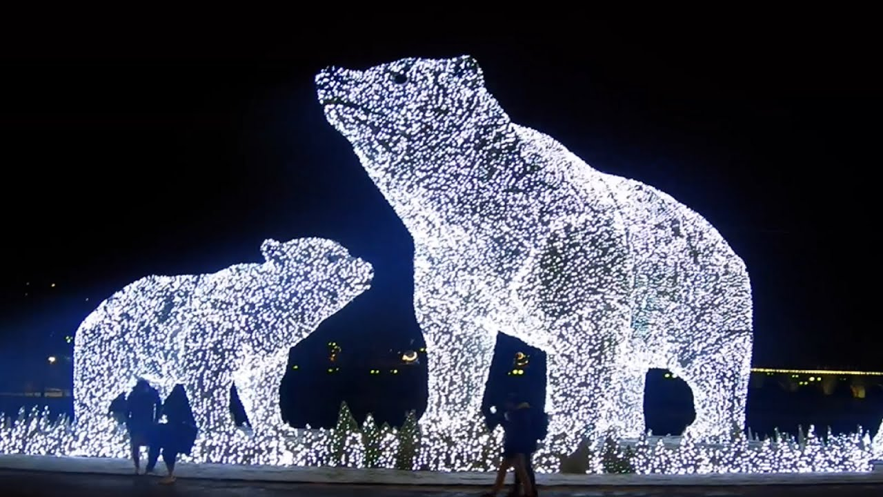 Russia, Walking Moscow, Christmas & New Year 2021 preparation, Akveduk Park 4K.