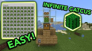 EASIEST CACTUS FARM TUTORIAL in Minecraft Bedrock (MCPE/Xbox/PS4/Nintendo Switch/Windows10)