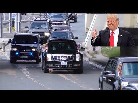 Donald Trump's US delegation & other VIP-convoys in Paris 14/07/2017