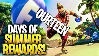 Fortnite 14 DAYS OF SUMMER CHALLENGES FREE REWARDS and ITEMS (Peely Smoothie Back Bling)