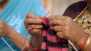 Indian woman knitting wool with knitting needles - Lifestyle women