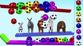 Learn Colors with Balls and Wild Animals and Toboggans For Kids | learning 3D video for Toddlers