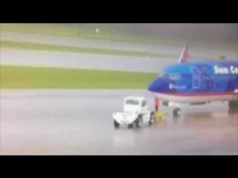 Raw video of airport worker struck by lightning in FL
