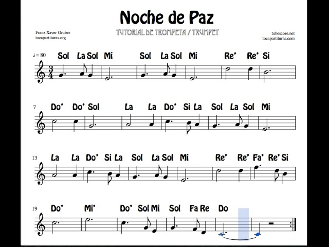 Noche De Paz Video Tutorial Partitura Con Notas Silent Night Trumpet Youtube