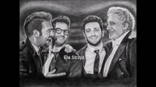 Il Volo and Placido Domingo - dry brush portrait by Ela Strzyz