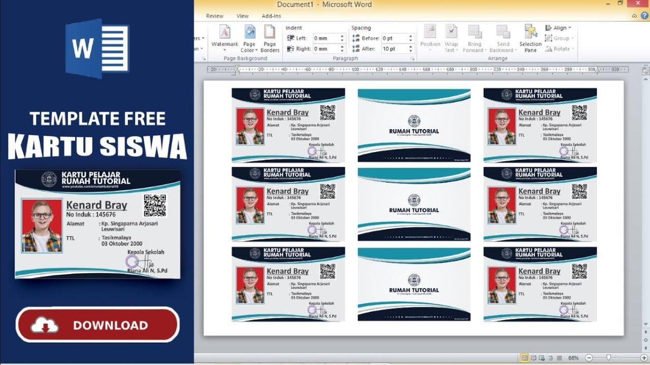 Gampang Banget ! Membuat Kartu Pelajar Microsoft Word Free ...