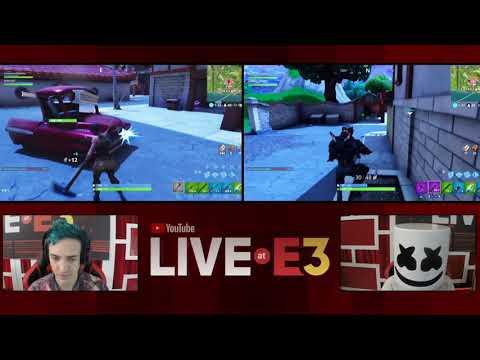 Ninja and Marshmello Play Fortnite at the YouTube Live at E3 Studio Part 1