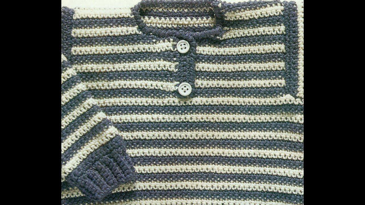 Patrón Para Tejer Suéter Cerrado Para Bebé a Crochet - YouTube