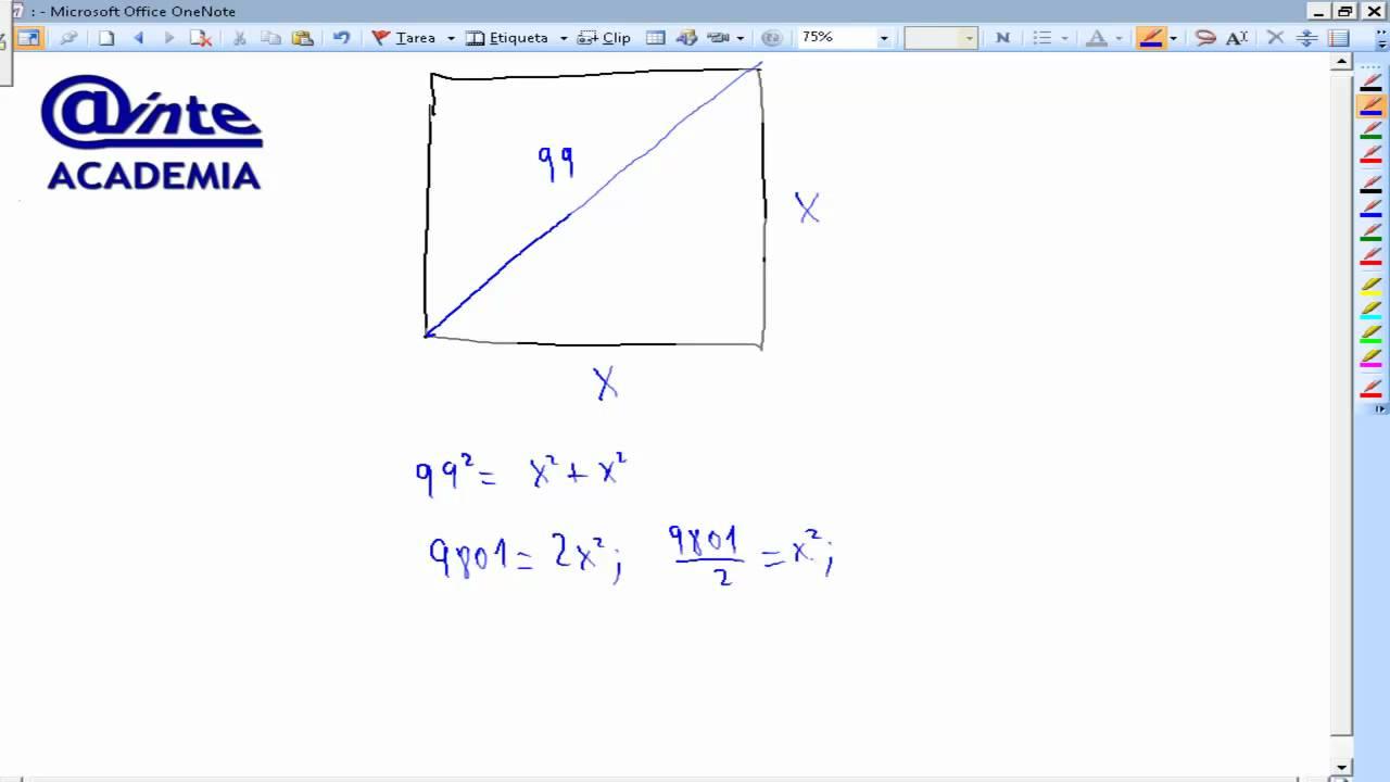 Obtener El Lado De Un Cuadrado Sabiendo Que La Diagonal Mide Matemáticas Academia Usero Youtube
