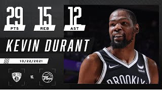 Kevin Durant gets TRIPLE-DOUBLE in big W over Philly 💪