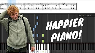 Happier - Ed Sheeran Piano Tutorial + SHEETS with Lyrics in Description | Synthesia Lesson