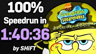 SpongeBob SquarePants: Battle for Bikini Bottom 100% Speedrun in 1:40:36 (WR on 3/22/2018)