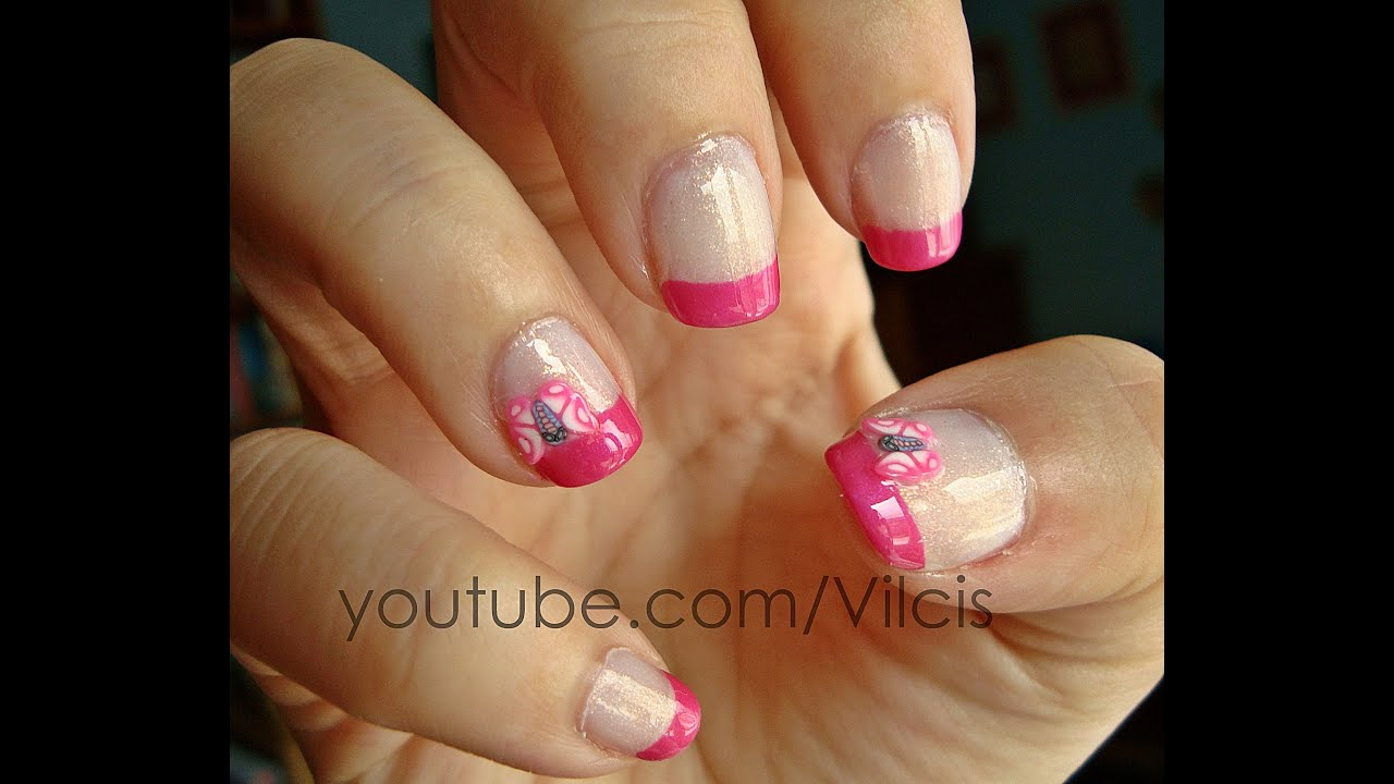 Tutorial uñas: polímero fimo mariposa rosa / Nail tutorial: fimo ...