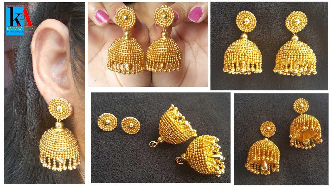 How to make Designer Silk Thread Jhumkas in 5 easy steps   Gold ...
