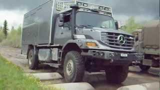 Geländefahrkurs im Mowag Testgelände mit Expeditionsmobil Mercedes Zetros