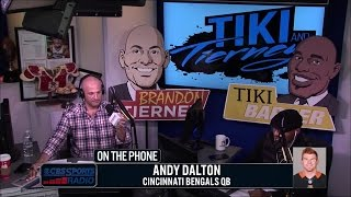 Andy Dalton talks with Tiki and Tierney