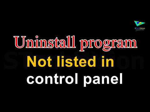 Uninstall Program Not Listed In Control Panel