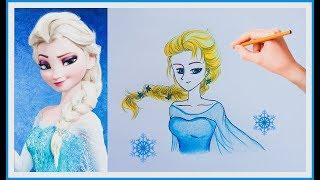 How to Draw Elsa From Frozen. วาดรูป ระบายสี เจ้าหญิงเอลซ่า : lovely art
