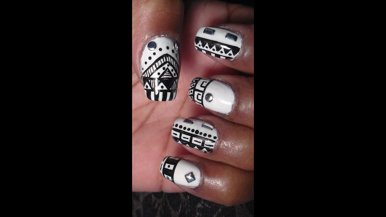 Black And White Tribal Nail Art Youtube