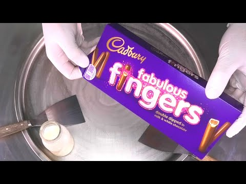 Cadbury Ice Cream Rolls | Cadbury fabulous fingers Chocolate and Cookie rolled Ice Cream | ASMR Food