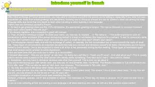 How to : Introduce yourself in french
